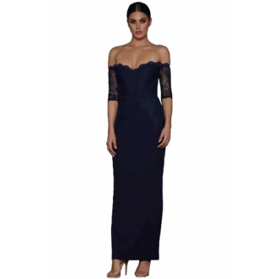Navy Sheer Lace Sleeve Off Shoulder Maxi Dress