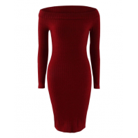Off The Shoulder Skinny Ribbed Dress - Wine Red