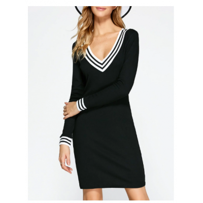 Plunging Neck Cricket Long Sleeve Knitted Dress - Black