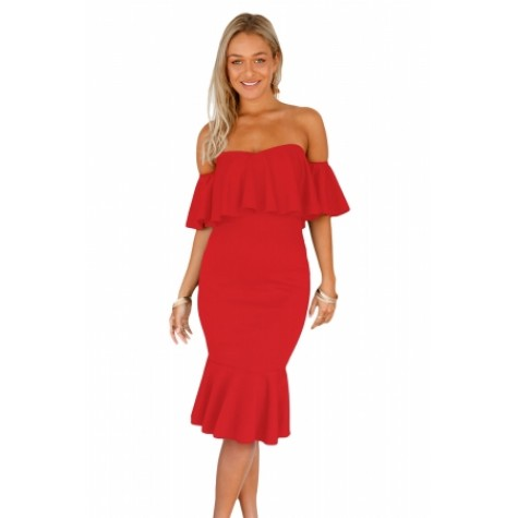 26dafb184d2 Red Ruffle Off Shoulder Mermaid Midi Party Dress (Red Ruffle Off ...