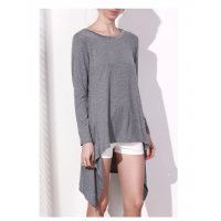 Stylish Skew Neck Long Sleeve Gray Asymmetrical Dress For Women - Gray