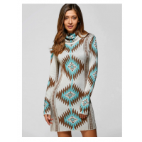 Turtleneck Geometric Mini Sweater Dress - Light Green