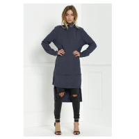Turtleneck Knitted High Low Dress - Deep Blue