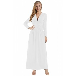 White Vintage Inspired V-neck Long Sleeve Maxi Dress