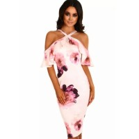 Pink Floral Frill Cold Shoulder Midi Dress
