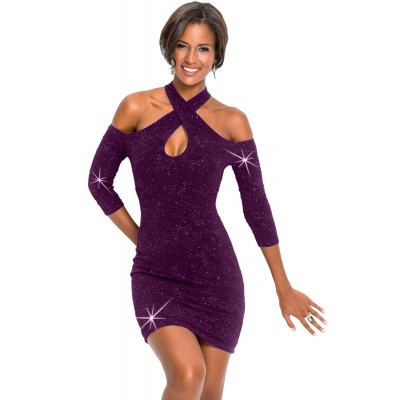 Purple Cold Shoulder Keyhole Bodycon Mini Dress