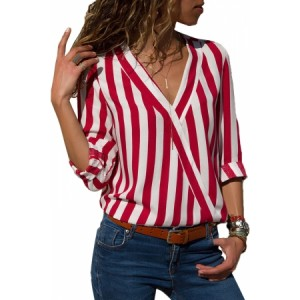 Red White Stripe Long Sleeve V Neck Shirt