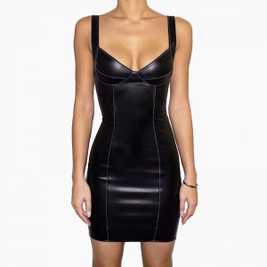 Cryptographic Black PU Leather Club Party Sexy Slip Mini Dresses Bodycon Sleeveless Fashion Corset Dress Goth Women's Clothing
