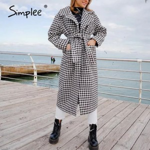 Simplee Fashion plaid wool coat women winter 2020 Houndstooth belt with pocket long coat Autumn warm thick tweed overcoat female