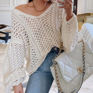 Cryptographic Autumn Winter Sexy V-Neck Women's Sweaters Hollow Out Lantern Sleeve Pullover Females Jumpers Knitted Sweaters