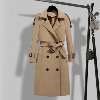 FTLZZ New Autumn Winter Elegant Women Double Breasted Solid Trench Coat Vintage Turn-down Collar Warm Trench with Belt