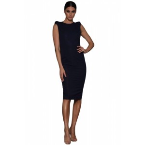Black Sheer Lace Back Sleeveless Midi Dress navy