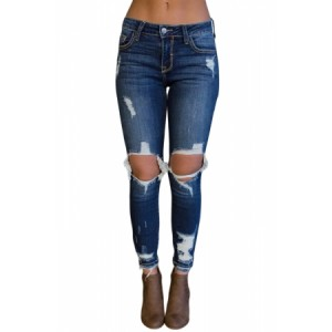 Dark Blue Destroyed Skinny Jeans