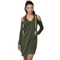 Green Long Sleeve Cold Shoulder Hooded Dress Gray