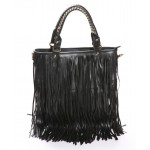 Stylish Black Tassel Embellished and Zipper Design Handbag For Female