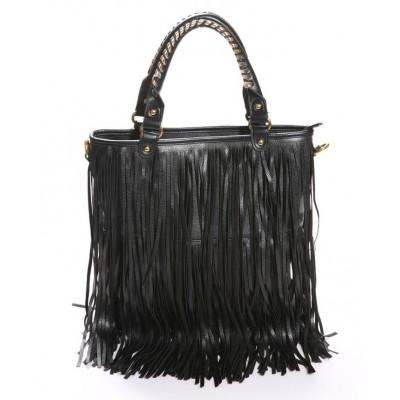Stylish Black Tassel Embellished and Zipper Design Handbag For Female