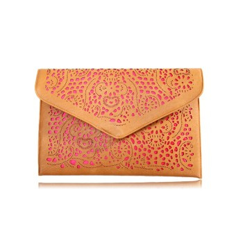 Stylish Style Casual Women's Clutch With Candy Color Openwork and Magnetic Closure Design