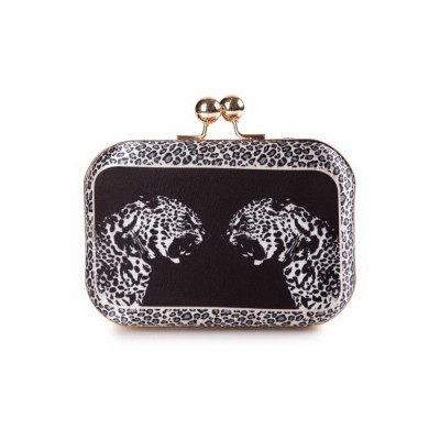Stylish Women's Evening Bag With Leopard Pattern and Kiss-Lock Closure Design