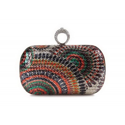 Stylish Women's Evening Bag With Sequins and Rhinestones Design
