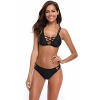 Black Crisscross and O-ring Detail Two Piece Swimsuit
