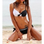Alluring Bow Tie Embellished Spaghetti Strap Color Block Polka Dot Print Nylon Bikini Swimming Suit For Women