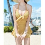Alluring Halterneck Backless Drawstring Ruffled Lace One-Piece Swimwear For Women