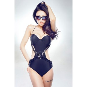 Attractive Halterneck Beach Black One-Piece Swimwear For Women