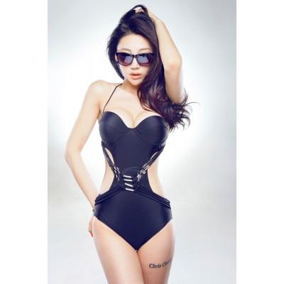 Attractive Halterneck Beach Black One-Piece Swimwear For Women