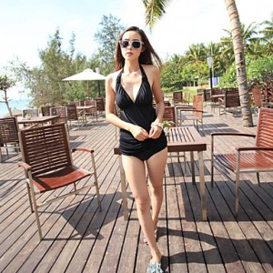 Black Sexy Wrinkle One-Piece Swimwear