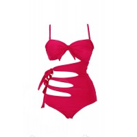Bow Tie Solid Color Sexy Style Spandex Bikini Swimming Suit For Women