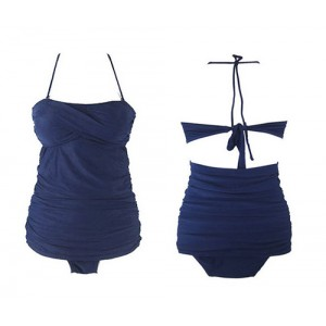 Crossed Bandage Wrinkled Slimming Beach One-Piece Nylon Solid Color Swimwear For Women