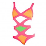 Cut Out Spaghetti Straps Design Color Block Backless One-Piece Bandage Swimwear For Women