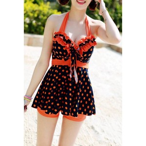 Cute Women's Halterneck Polka Dot Ruffle Two-piece Swimsuit