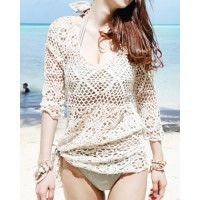 Cute Women's Scoop Neck 1/2 Length Sleeve Openwork Smock