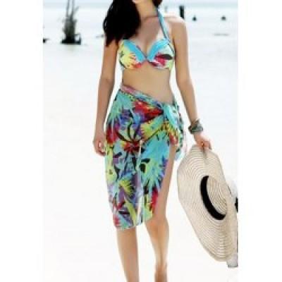 Halterneck Floral Print Color Block Ladylike Beach Wear For Women