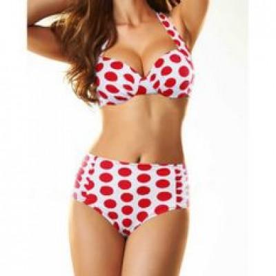 High Waisted Cute Women's Halterneck Polka Dot Two-Piece Swimwear