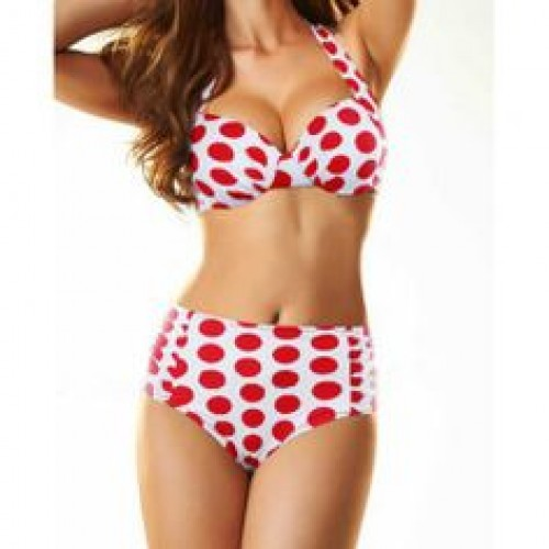 High Waisted Cute Women s Halterneck Polka Dot Two-Piece Swimwear ... f3e7759801