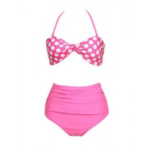 High Waisted Sexy Halterneck Ruffled Polka Dot Print Bikini Swimsuit For Women