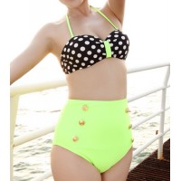 High Waisted Sexy Women's Halterneck Polka Dot Two-piece Swimsuit