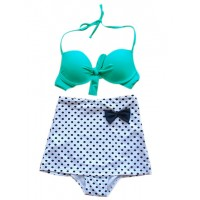 High Waisted Vintage Halterneck Bow Polka Dot Print Bikini Swimsuit For Women