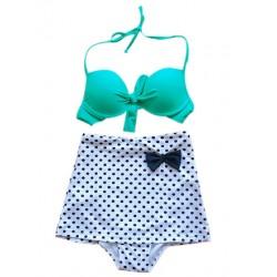 High Waisted Vintage Halterneck Bow Polka Dot Print Bikini Swimsuit For Women