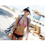 Low-Cut American Flag Printing Spandex Bikini Swimming Suit For Women