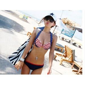 Low-Cut American Flag Printing Spandex Bikini Swimming Suit For Women
