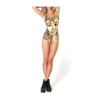 Low-Cut Egyptian Sphinx Print Backless Beach Polyester Color Matching One-Piece Swimwear For Women