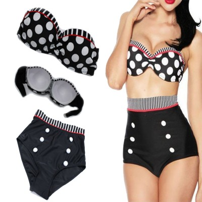 Polka Dot Double-Breasted Spandex Sexy Halter Swimsuit For Women