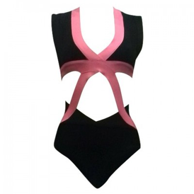Sexy Backless Cut Out One-Piece Bandage Swimwear For Women