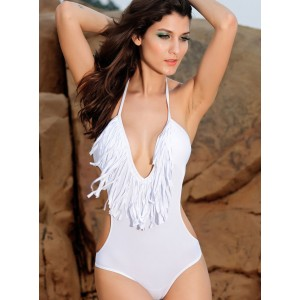 Sexy Halter Fringe Solid Color Cut Out Swimwear For Women
