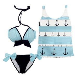 Sexy Women's Halterneck Printed Underwired Bow Embellished Three-piece Swimwear