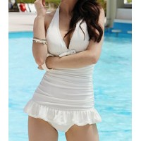 Sexy Women's Halterneck Ruffle Embellished Solid Color One-piece Swimsuit