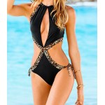 Sexy Women's Hollow Out Leopard Print One-Piece Swimsuit